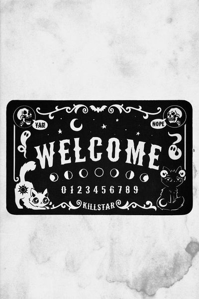 cute and spooky killstar welcome halloween mat