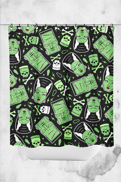 monsters themed shower curtain universal