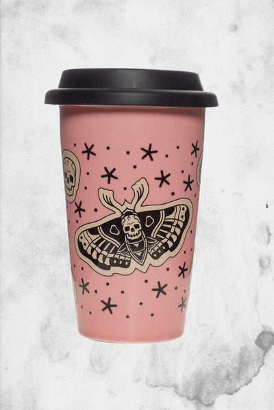 creepy pink death goth moth cup