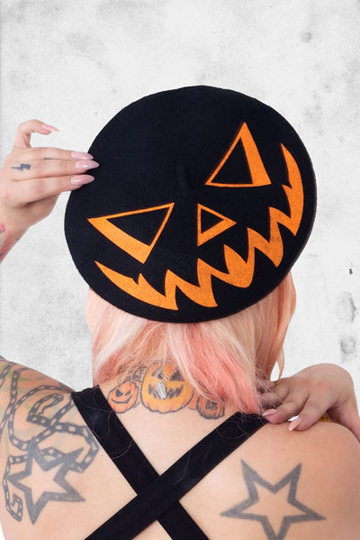 pumpkin trick or treat beret