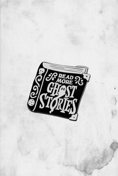 read more ghost stories enamel pin