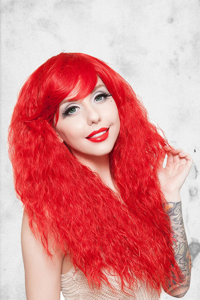 red crimson wig halloween cosplay