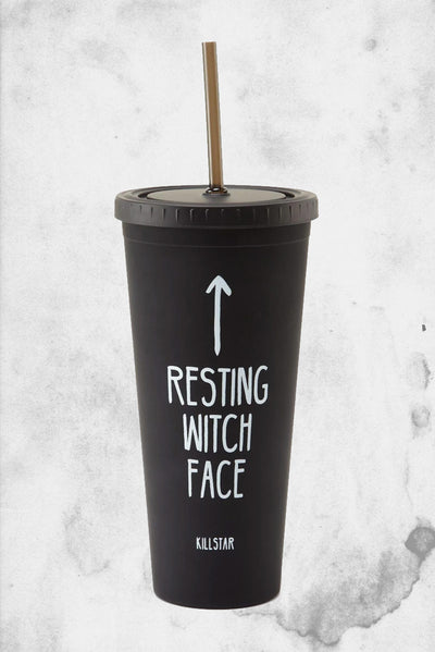 resting witch face tumbler killstar