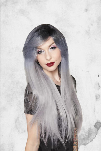 bella wig dark roots silver cosplay