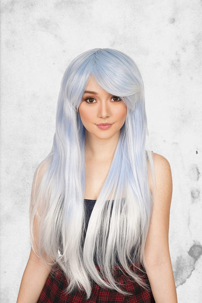 white and blue cosplay wig