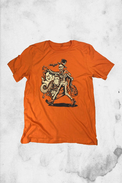 vintage halloween t-shirt skeleton design classic