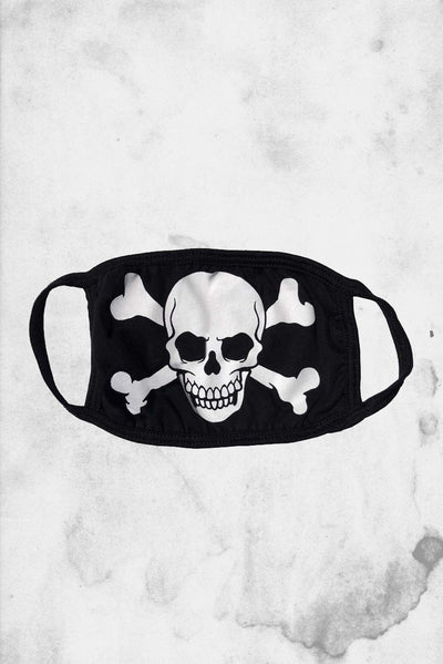 skull and cross bones halloween themed face mask