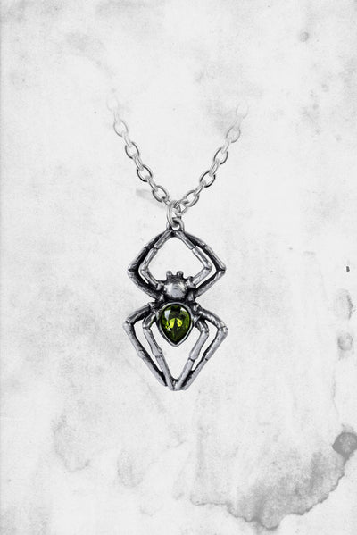 horror themed spider necklace