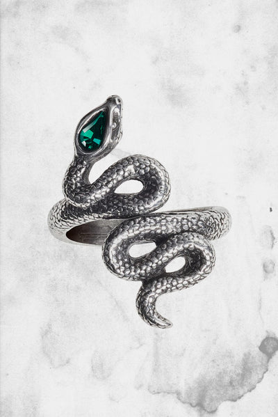 horror themed alchemy snake ring