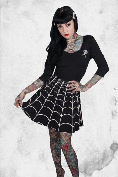 spiderweb spooky girl dress kreepsville