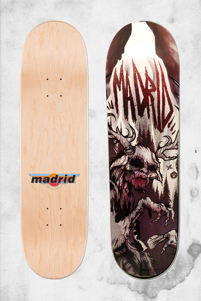 wendigo horror themed skateboard