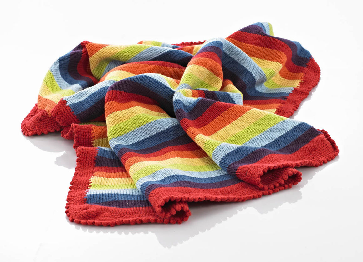 Rainbow Stripes, Pebble Fair Trade Knitted Baby Blanket