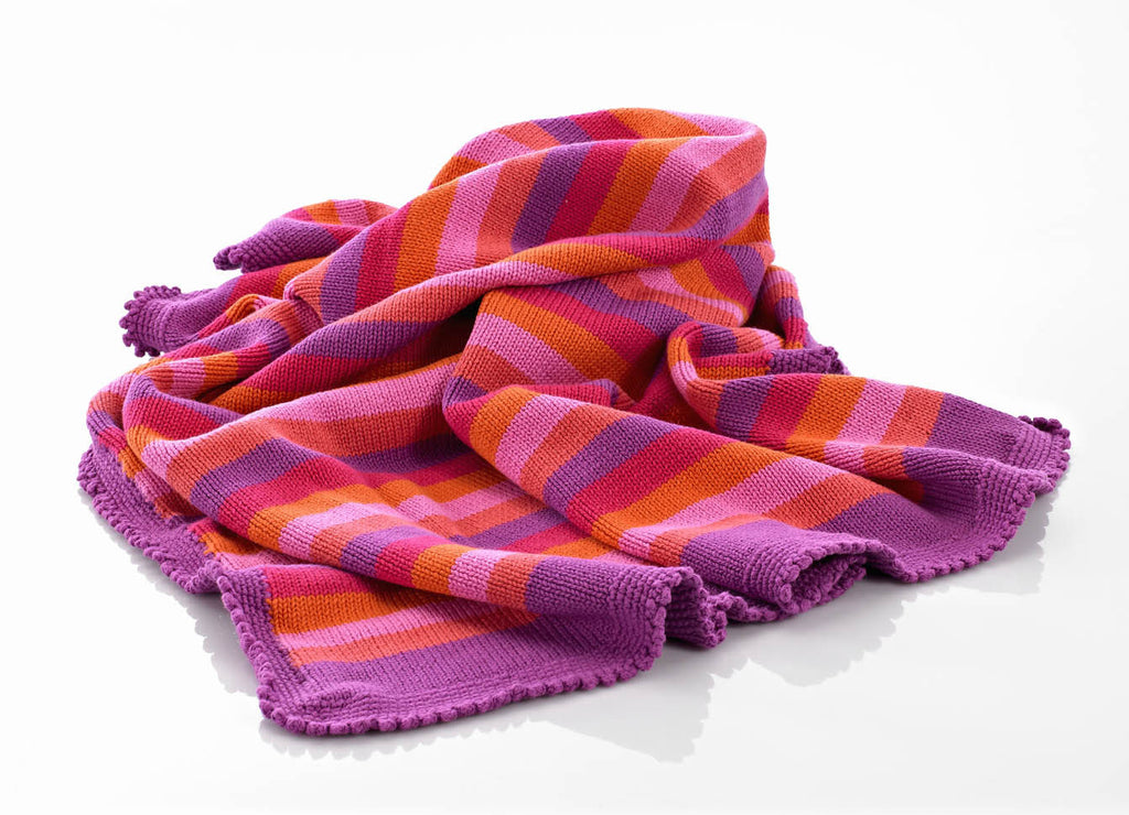 Pink Stripes, Pebble Fair Trade Knitted Blanket