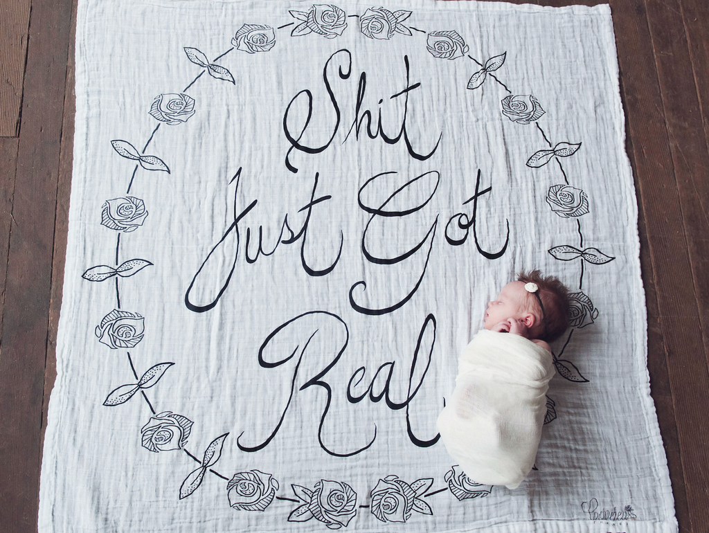 Coveted Things 'Shit just got real' Organic Swaddle Scarf