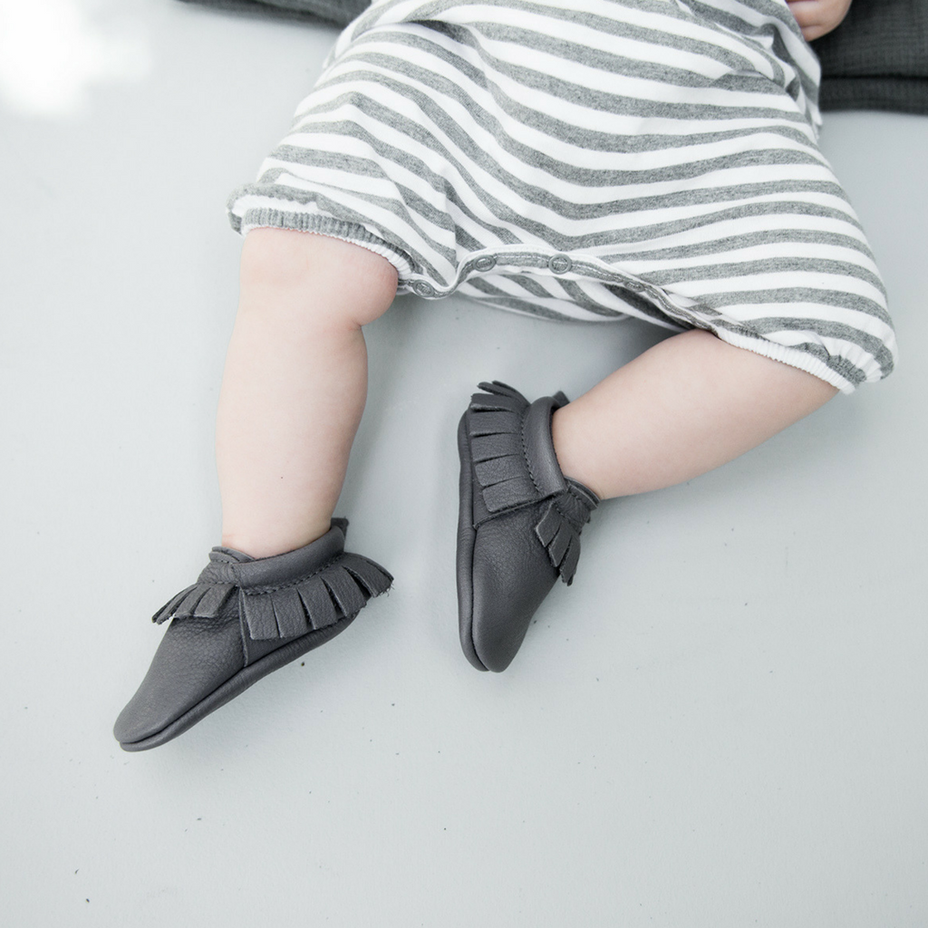 Amy & Ivor Leather Moccasins in Slate