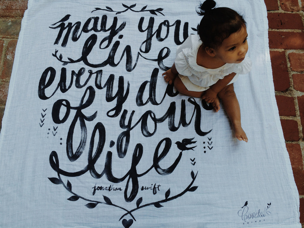 Coveted Things 'May you live' Organic Swaddle Scarf