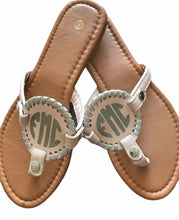 Load image into Gallery viewer, Light Pink with Silver Monogram Sandals