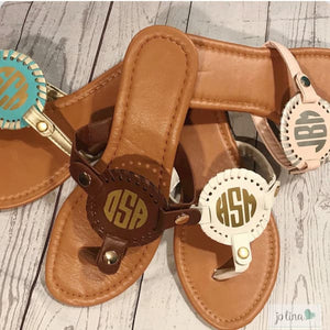 Light Pink with Silver Monogram Sandals