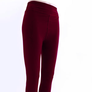 Solid burgundy colored leggings by Jolina Boutique