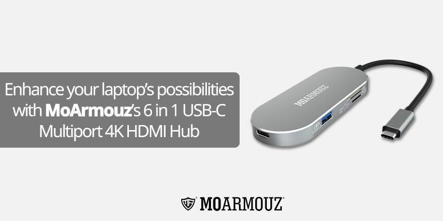 Enhance your laptop's possibilities with MoArmouz's 6 in 1 USB-C Multiport 4K HDMI Hub
