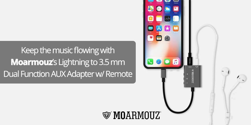 Keep the music flowing with MoArmouz's Lightning to 3.5 mm Dual Function AUX Adapter w/ Remote