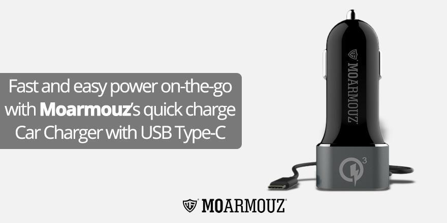 Fast and easy power on the go with Moarmouz's quick charge Car Charger with USB Type-C Cable
