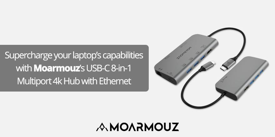 Supercharge your laptop's capabilities with Moarmouz's USB-C 8-in-1 Multiport 4k Hub with Ethernet
