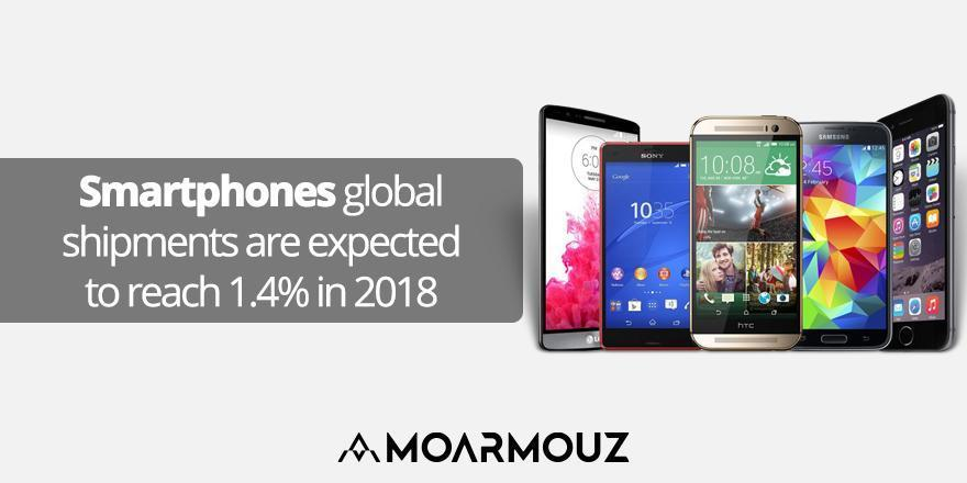 Smartphones global shipments are expected to reach 1.4% in 2018