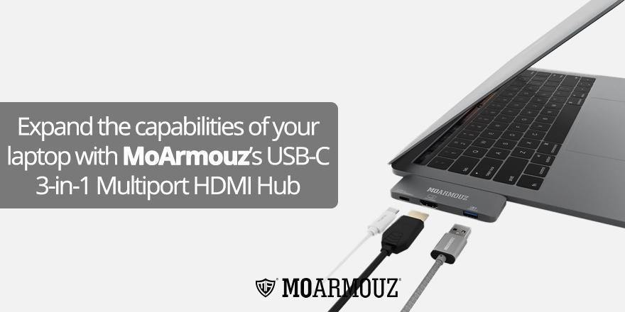 Expand the capabilities of your laptop with MoArmouz's USB-C 3-in-1 Multiport HDMI Hub