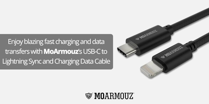 Enjoy blazing fast charging and data transfers with MoArmouz's USB-C to Lightning Sync and Charging Data Cable