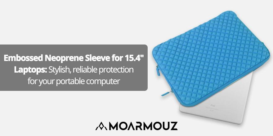 "Embossed Neoprene Sleeve for 15.4"" Laptops: Stylish, reliable protection for your portable computer"
