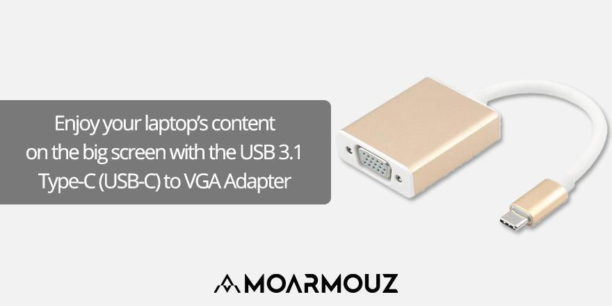 Enjoy your laptop's content on the big screen with the USB 3.1 Type-C (USB-C) to VGA Adapter
