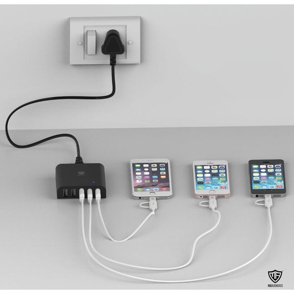 MoArmouz - 5 Port 40W/8A Multi Port USB Charging Hub Station with Smart IC