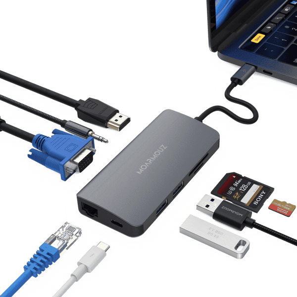 MoArmouz - Type C (USB-C) 9 in 1 Multiport Dual Display Hub