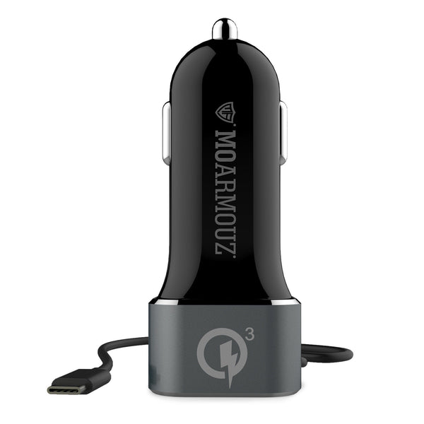 MoArmouz - Type C Car Charger With USB-C Cable and QC 3 Outputs