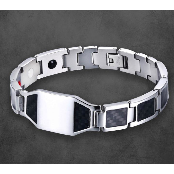 PERSONALIZED MEN'S BRACELET STEEL / CARBONFIBRE