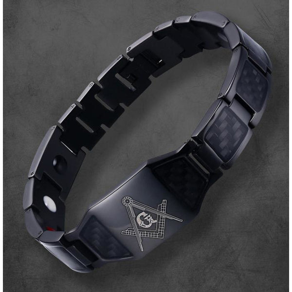 PERSONALIZED MEN'S BRACELET MATTE BLACK / CARBONFIBRE