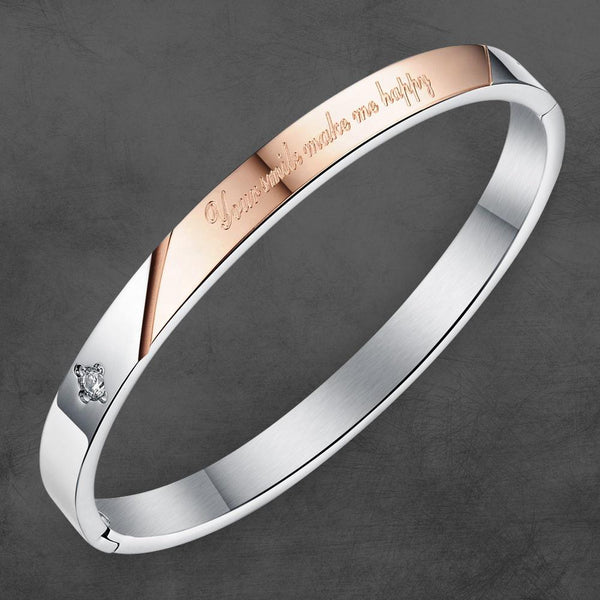 PERSONALIZED BANGLE HER'S SILVER ROSEGOLD