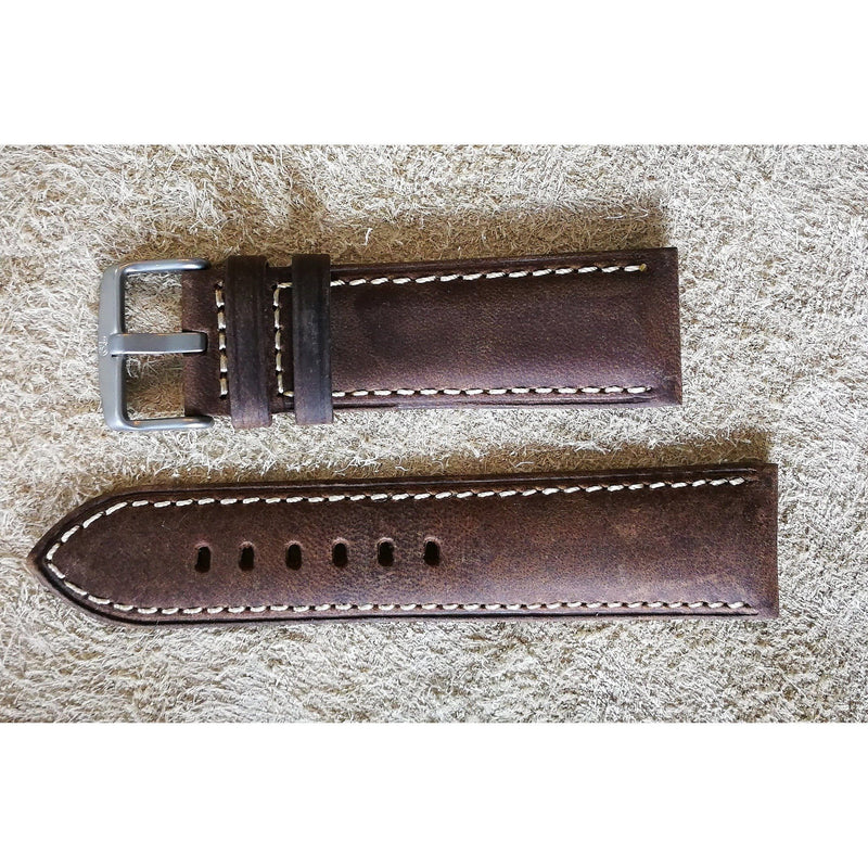 Suede Leather Dark Brown Padded White Stitching
