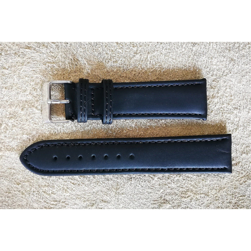 Clean Leather Soft Black Black Stitching