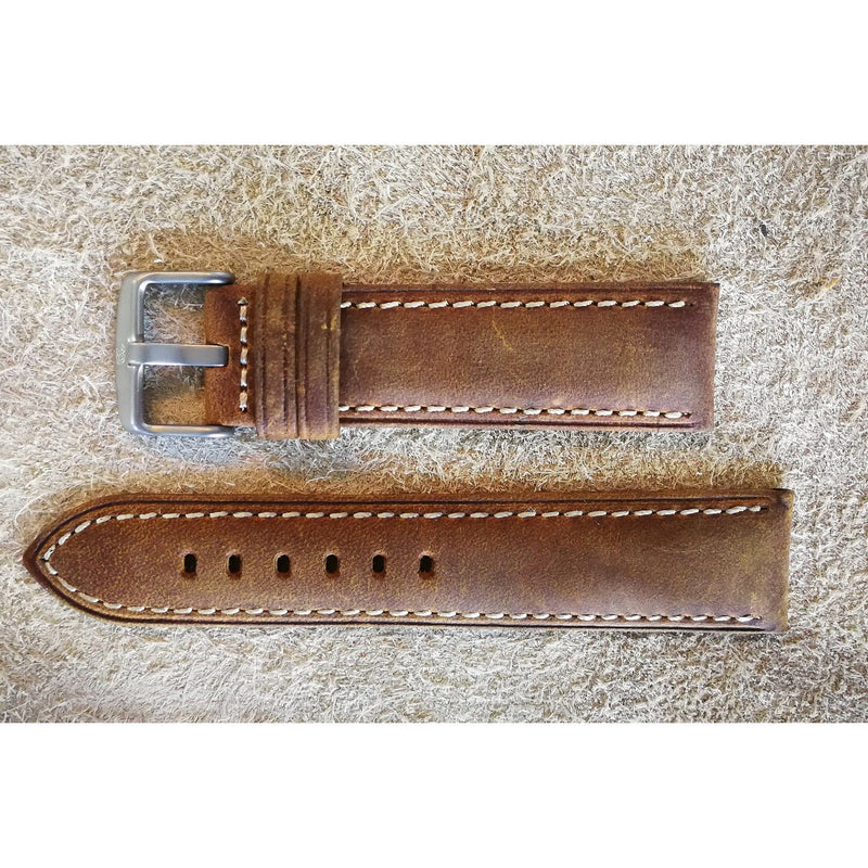 Suede Leather Tan Padded White Stitching