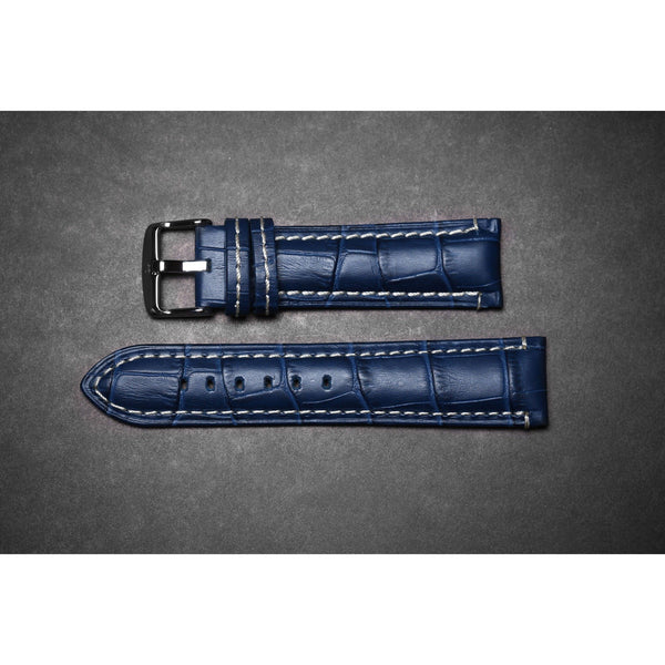 Premium Leather Strap Royal Blue / White Stitching