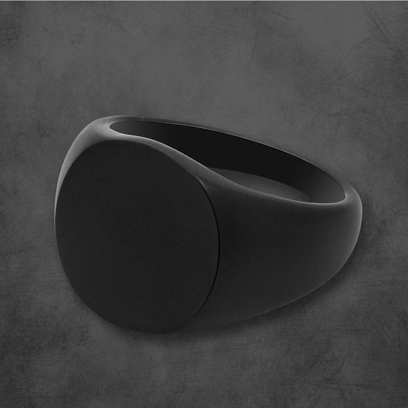 PERSONALIZED SIGNET RING HIGH POLISH ONYX BLACK