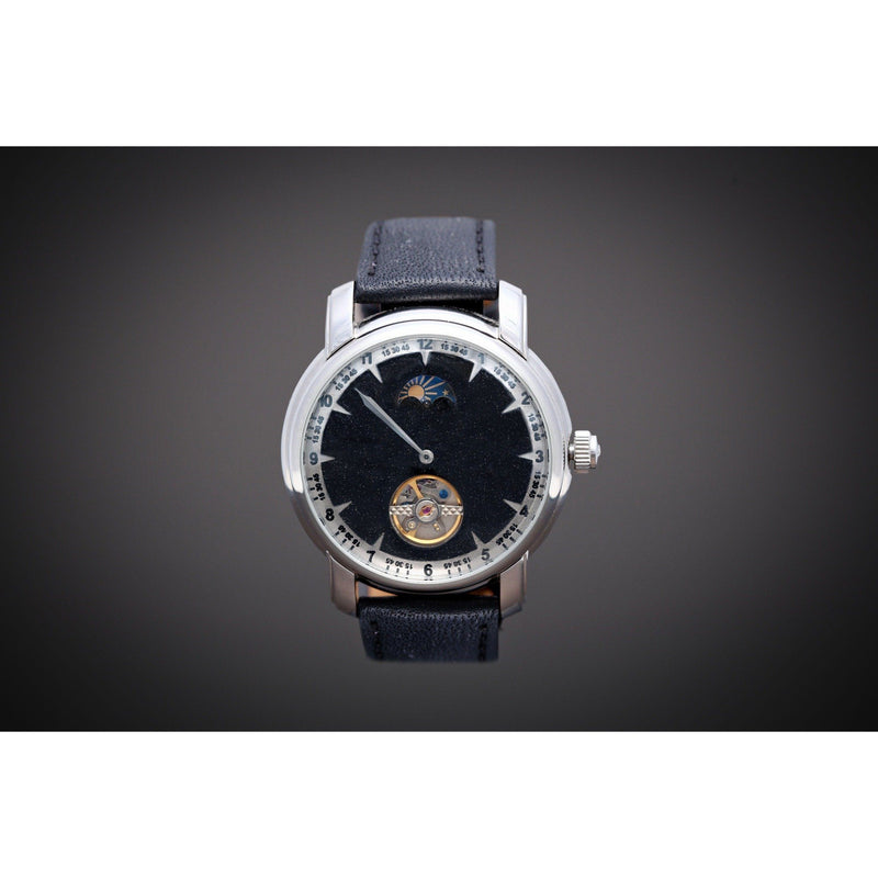 H1 Pearl Black Automatic One Hand Moonphase-Wristwatch-Matt Arend Timepieces