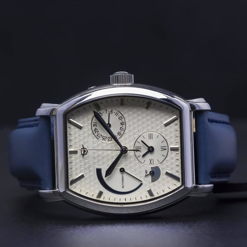 Ma 670 Le Cadre Classic Blue Power Reserve Custom-Wristwatch-Matt Arend Timepieces