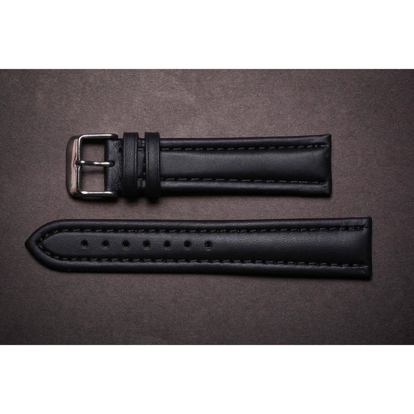 Premium Leather Strap Black Padded Clean-Straps-Matt Arend Timepieces