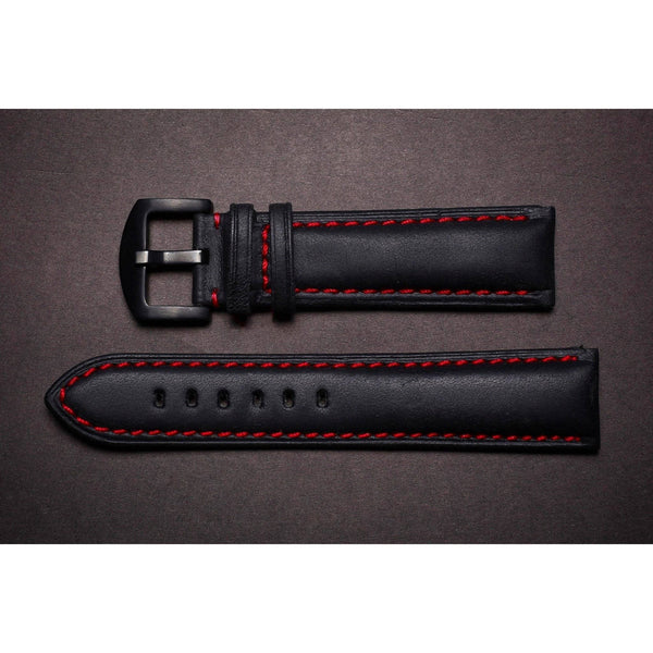 Premium Leather Strap Black / Red-Straps-Matt Arend Timepieces