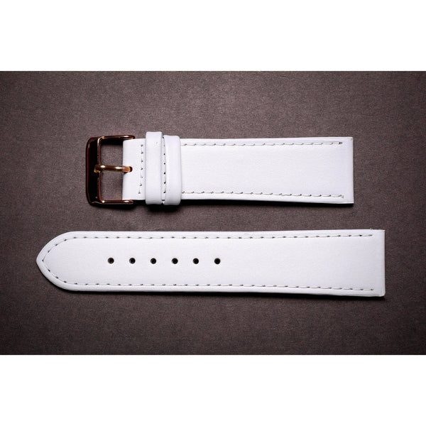 Premium Leather Strap White Unpadded-Straps-Matt Arend Timepieces