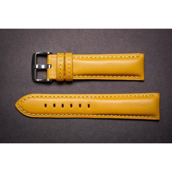 Premium Leather Strap Yellow Padded-Straps-Matt Arend Timepieces