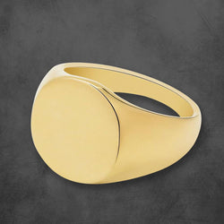 PERSONALIZED SIGNET RING HIGH POLISH GOLD